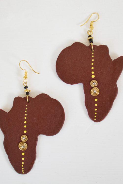 boucles d'oreilles Kimia Adakad tribale carte d'afrique bois finition strass perles